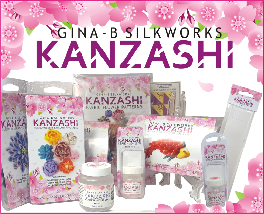 Kanzashi Flower Kits, tools & starch adhesive from Gina-B Silkworks
