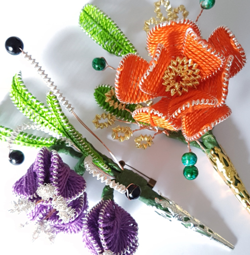 Ganutell Brooches - kits available from Gina-B Silkworks